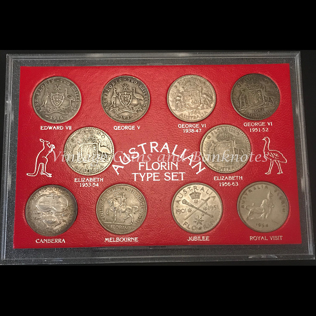 1916, 1927, 1934, 1934-35, 1944, 1951, 1953, 1954, 1956 and 1901-51 Australian Florin Type Set RARE