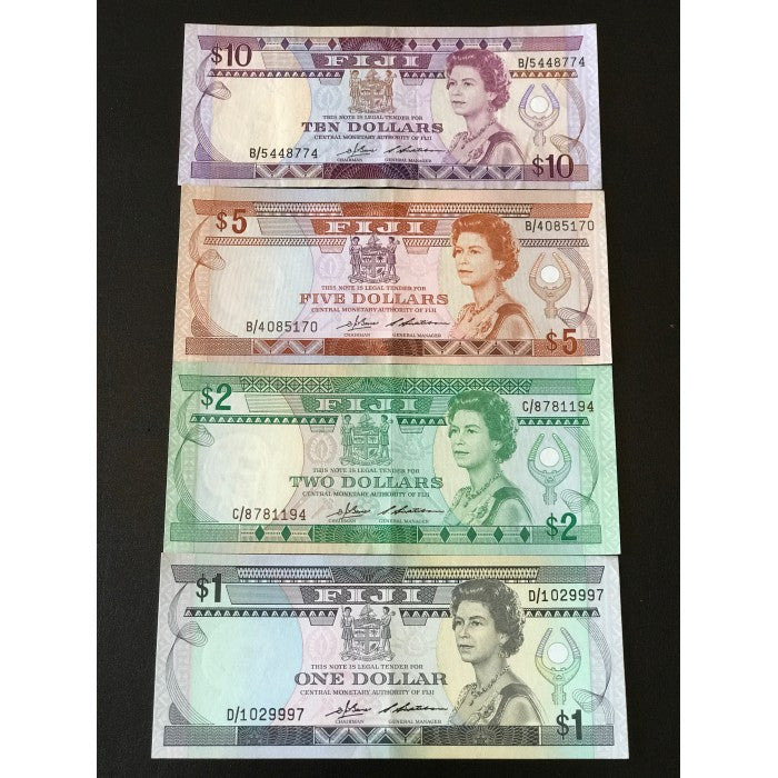Fiji ND (1983 & 1986) $1, $2, $5 & $10 Set