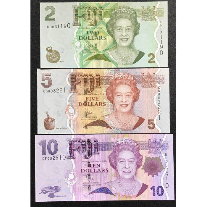 Fiji ND (2007) $2, $5, $10 Set
