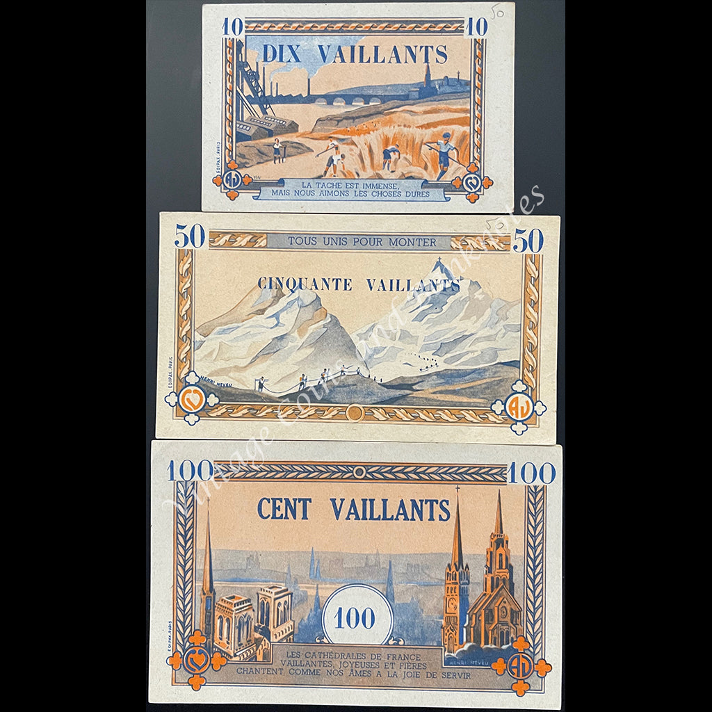 ND 10, 50 & 100 Vaillants Set - Coeurs Vaillants (Catholic Youth Movement) aUNC/UNC