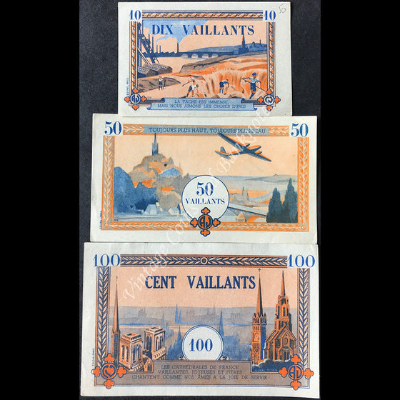 France ND 10, 50 & 100 Vaillants Set - Coeurs Vaillants (Catholic Youth Movement)