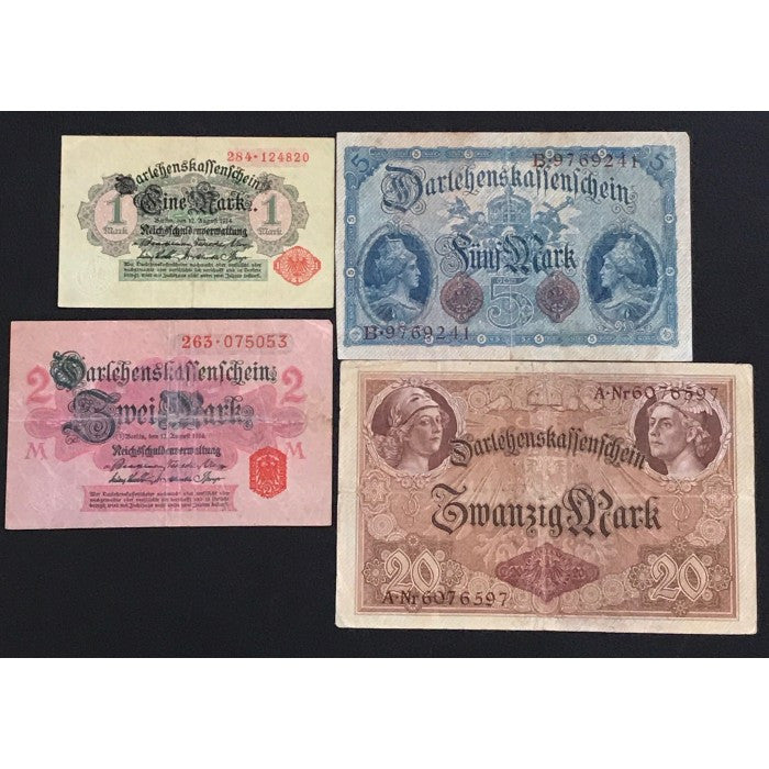 Germany 1914 Darlehenskassenschein 1, 2, 5 and 20 Mark Set