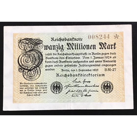 Germany 1923 Reichsbanknote 20 Millionen Mark Low Issue Number Star Note