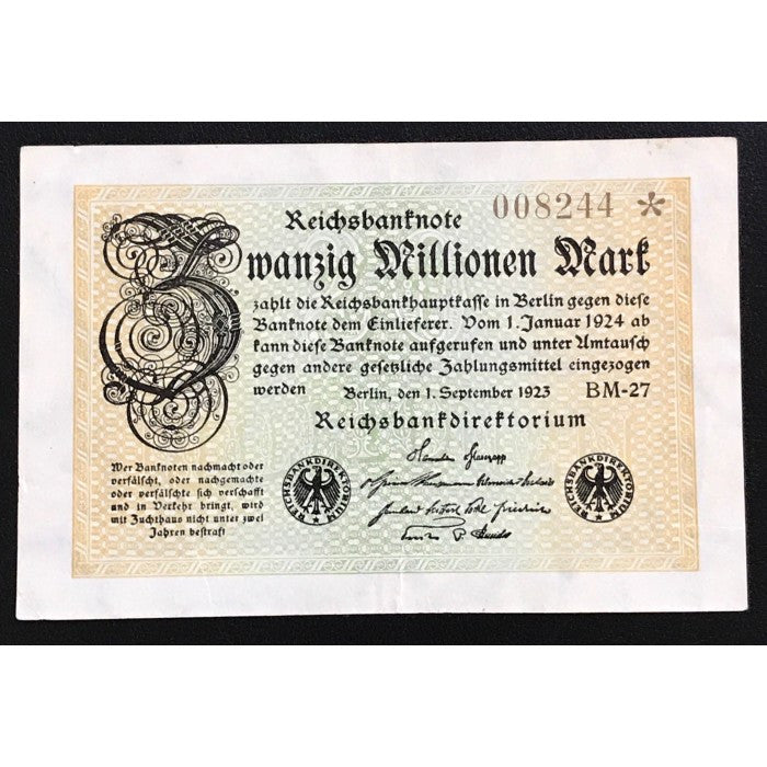 Germany 1923 Reichsbanknote 20 Million Mark Low Issue Number Star Note