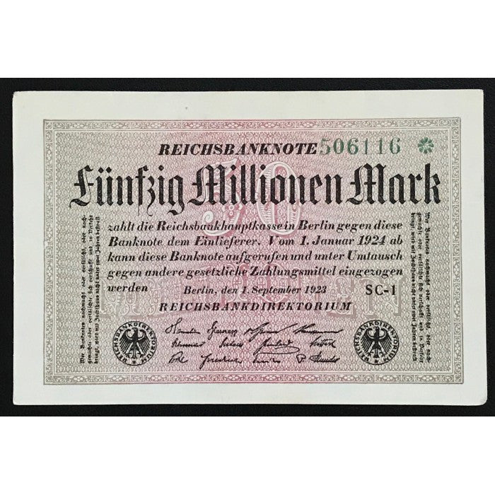 Germany 1923 Reichsbanknote 50 Millionen Mark Star Note