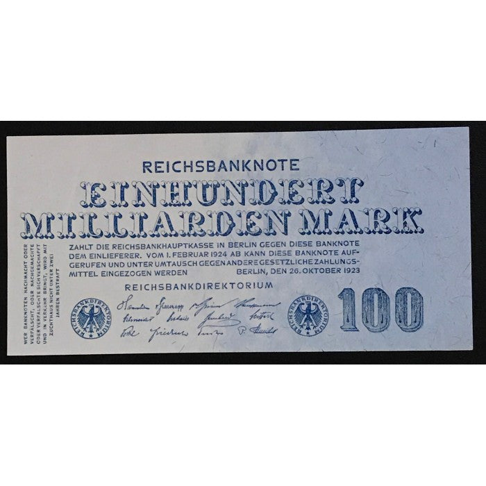 Germany 1923 Reichsbanknote 100 Milliarden Mark