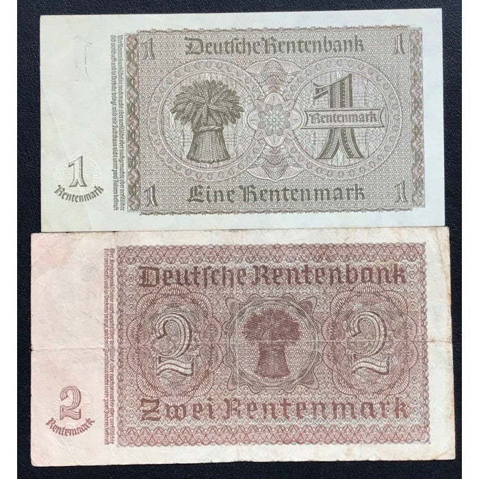 Germany 1937 1 and 2 Rentenmark Set
