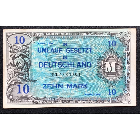 1944 P-191a WWII Allied Military Currency Unc Gemany 1//2 Mark