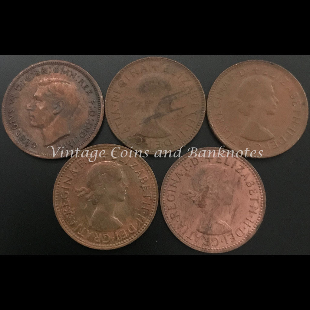 1943, 1953, 1961, 1963 and 1964 Halfpennies Set from VF to aUNC/UNC