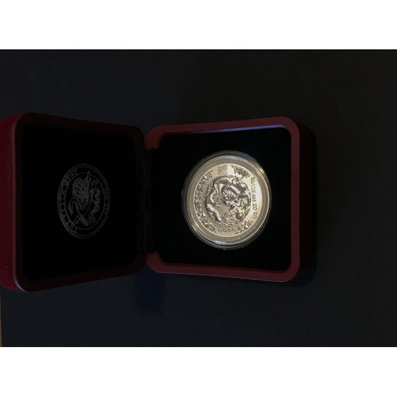 2000 1/2 oz Year of the Dragon 999 Silver Proof 50c coin in display case