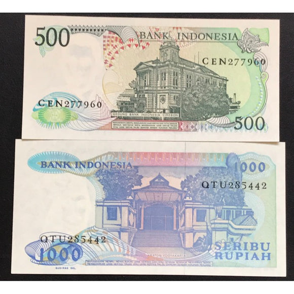 Indonesia 1988 500 and 1987 1000 Rupiah Set