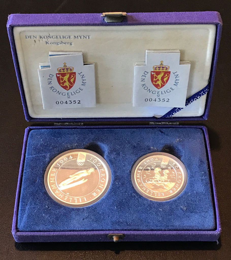 Winter Olympics Lillehammer 1994 100 Kroner and 50 Kroner Silver Coin Set-Alpine Skier