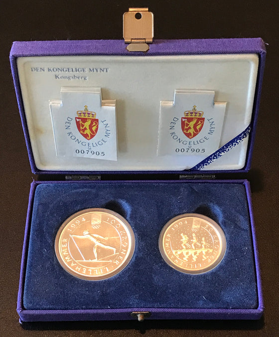 Winter Olympics Lillehammer 1994 100 Kroner and 50 Kroner Silver Coin Set-Cross Country Skier