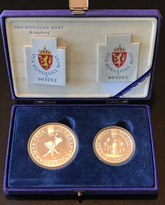 Winter Olympics Lillehammer 1994 100 Kroner and 50 Kroner Silver Coin Set-Female Speed Skaters