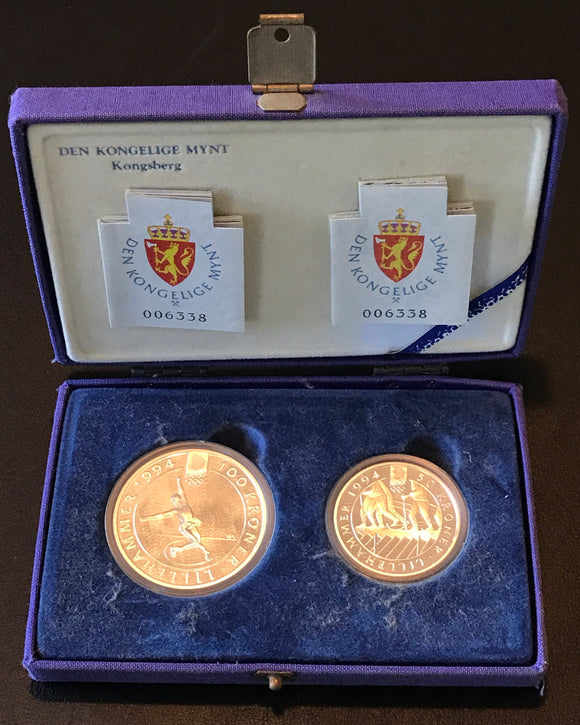 Winter Olympics Lillehammer 1994 100 Kroner and 50 Kroner Silver Coin Set-Figure Skater