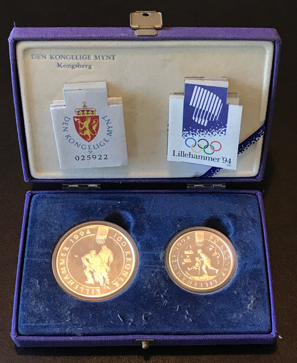 Winter Olympics Lillehammer 1994 100 Kroner and 50 Kroner Silver Coin Set-Ice Hockey
