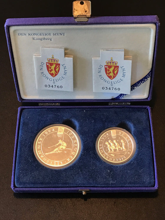 Winter Olympics Lillehammer 1994 100 Kroner and 50 Kroner Silver Coin Set-Ski Jumper