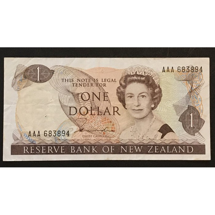 New Zealand 1981 One dollar Hardie **SCARCE AAA PREFIX**