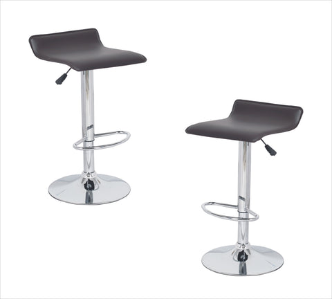 2x Brown PVC Contemporary S-Curve Kitchen Bar Stools