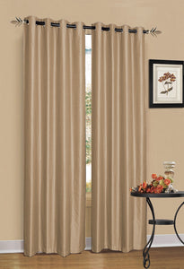 2 x Latte/Light Brown 100% Blockout Eyelet Curtains 300cm x 230cm (Drop)