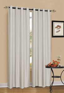 2 x White / Cream 100% Blockout Eyelet Curtains 300cm x 230cm (Drop)