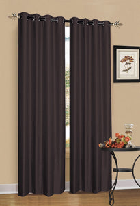 2 x Chocolate Brown 100% Blockout Eyelet Curtains 240cm x 230cm (Drop)