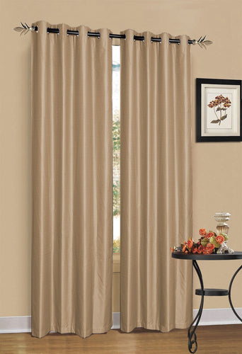 2 x Latte/Light Brown 100% Blockout Eyelet Curtains 180cm x 230cm (Drop)