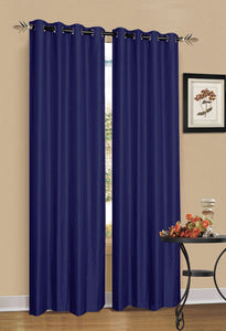 2 x Blue 100% Blockout Eyelet Curtains 140cm x 230cm (Drop)