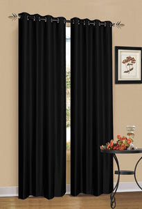 2 x Black 100% Blockout Eyelet Curtains 140cm x 230cm (Drop)