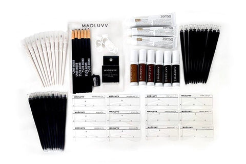 Madluvv Ink Deluxe Set - 10 Brow Pigment Colors + Shading Solution