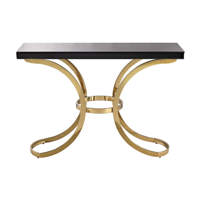 1114-196 Beacon Towers Console Table In Gold Plate And Black Glass - Free Shipping! Table - RauFurniture.com