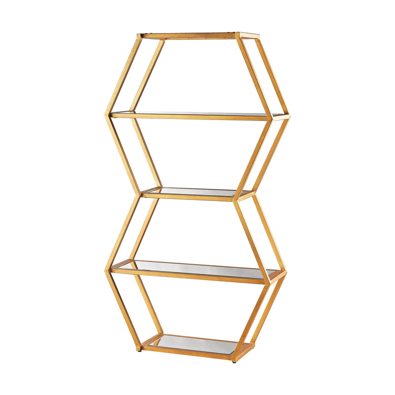 1114-208 Vanguard Book Shelf In Gold Leaf And Clear Mirror - Free Shipping! Shelf - RauFurniture.com