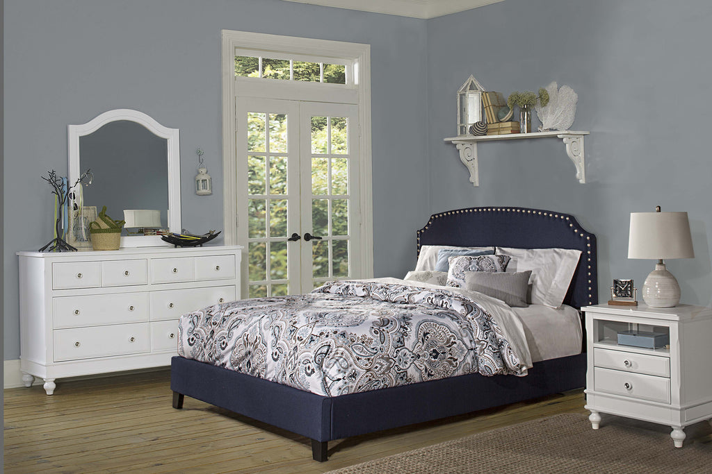 102300 Lani Bed - Full - Rails Included - Navy Linen Hillsdale Bed - RauFurniture.com