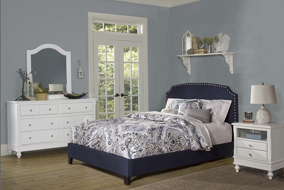 102300 Lani Bed - Queen - Rails Included - Navy Linen Hillsdale Bed - RauFurniture.com