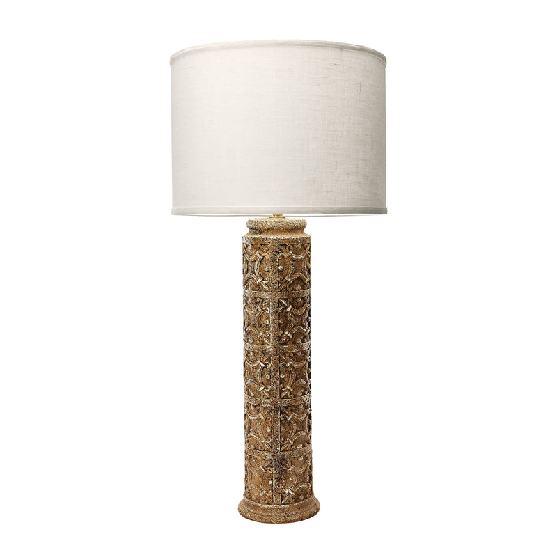 112096 Fluer De Lis 1 Light Table Lamp In Aged Stone - Free Shipping! Table Lamp - RauFurniture.com