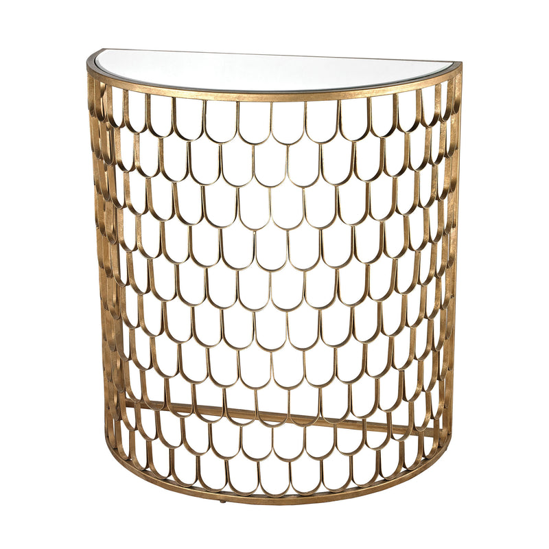 114-138 Fish Scale Demi Lune In Antique Gold Leaf - Free Shipping! Table - RauFurniture.com