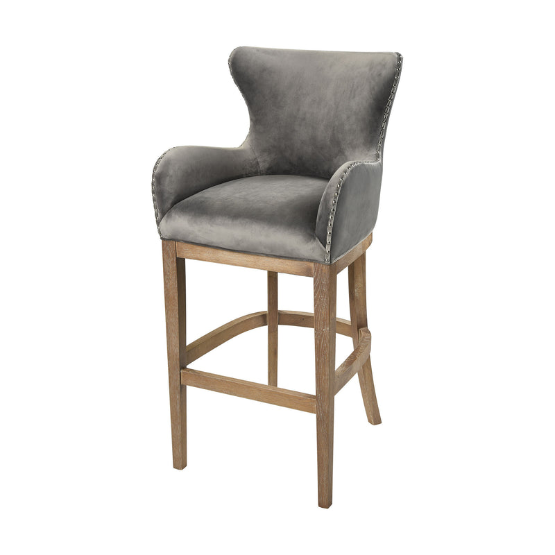 1204-031 Roxie Grey Bar chair, Stool, Sterling, - ReeceFurniture.com - Free Local Pick Ups: Frankenmuth, MI, Indianapolis, IN, Chicago Ridge, IL, and Detroit, MI