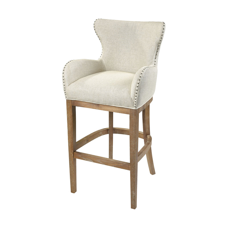 1204-032 Roxie Cream Linen Bar chair, Stool, Sterling, - ReeceFurniture.com - Free Local Pick Ups: Frankenmuth, MI, Indianapolis, IN, Chicago Ridge, IL, and Detroit, MI
