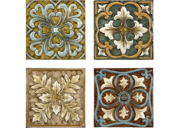 Casa Medallion Tiles - Set of 4 - Free Shipping!, Dimensional Wall Décor, IMAX, - ReeceFurniture.com - Free Local Pick Ups: Frankenmuth, MI, Indianapolis, IN, Chicago Ridge, IL, and Detroit, MI