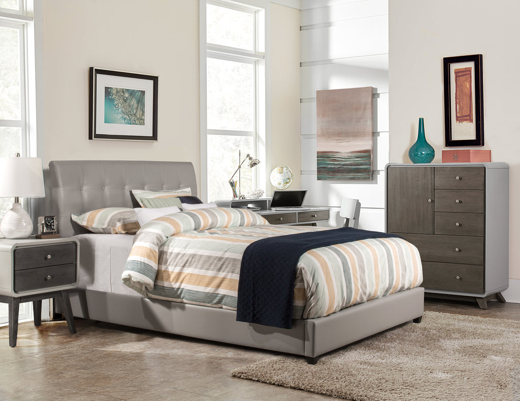 1945BFR Lusso Bed Set - Full - Rails Included - Gray Faux Leather, Hillsdale Bed Set, Hillsdale Furniture, - ReeceFurniture.com - Free Local Pick Ups: Frankenmuth, MI, Indianapolis, IN, Chicago Ridge, IL, and Detroit, MI