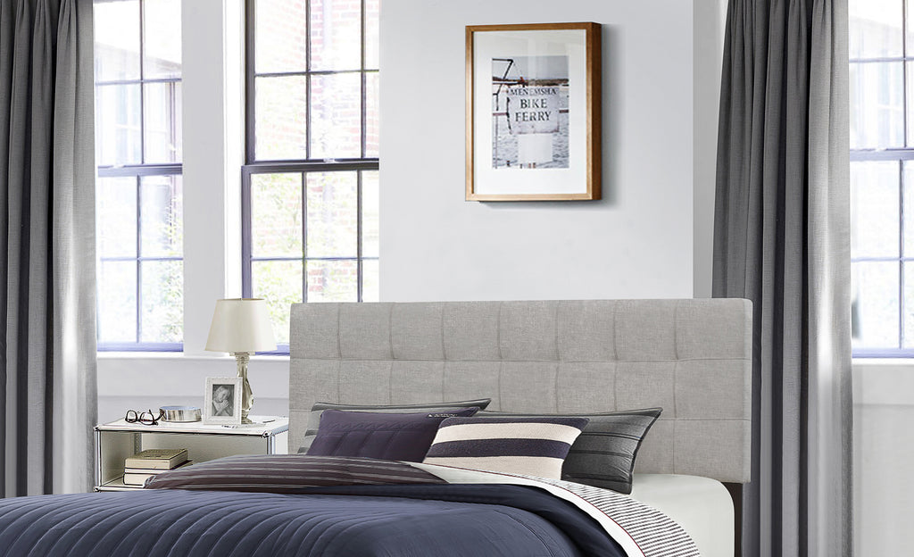 2009HKRG Delaney Headboard - King - Headboard Frame Included - Glacier Gray Fabric, Hillsdale Headboard, Hillsdale Furniture, - ReeceFurniture.com - Free Local Pick Ups: Frankenmuth, MI, Indianapolis, IN, Chicago Ridge, IL, and Detroit, MI