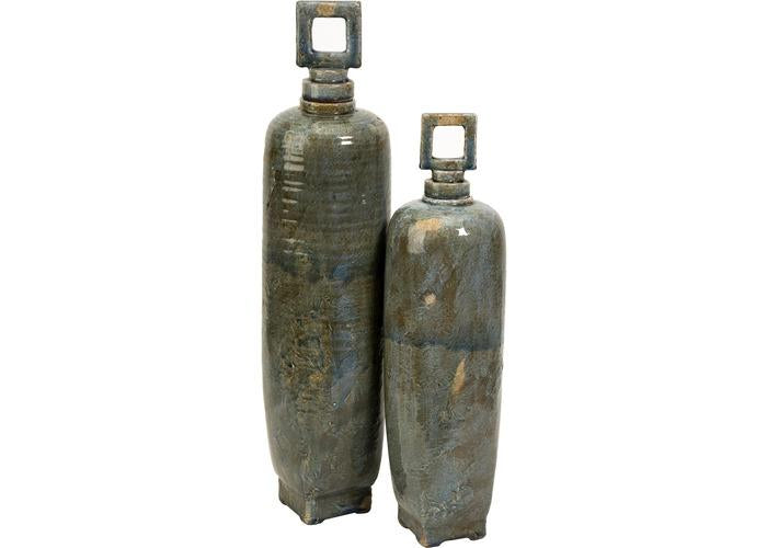 Laertes Ceramic Vases with Stoppers - Set of 2 - Free Shipping!, Containers-Ceramic, IMAX, - ReeceFurniture.com - Free Local Pick Ups: Frankenmuth, MI, Indianapolis, IN, Chicago Ridge, IL, and Detroit, MI