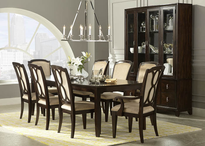 4450 Sophia - 5 Piece Leg Table & 4 Ribbon Back Side Chairs, Formal Dining Room, Legacy Classic Furniture, - ReeceFurniture.com - Free Local Pick Ups: Frankenmuth, MI, Indianapolis, IN, Chicago Ridge, IL, and Detroit, MI