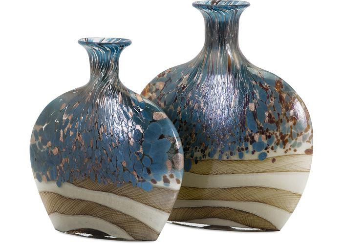 Nordiak Glass Vases - Set of 2 - Free Shipping!, Vases, IMAX, - ReeceFurniture.com - Free Local Pick Ups: Frankenmuth, MI, Indianapolis, IN, Chicago Ridge, IL, and Detroit, MI