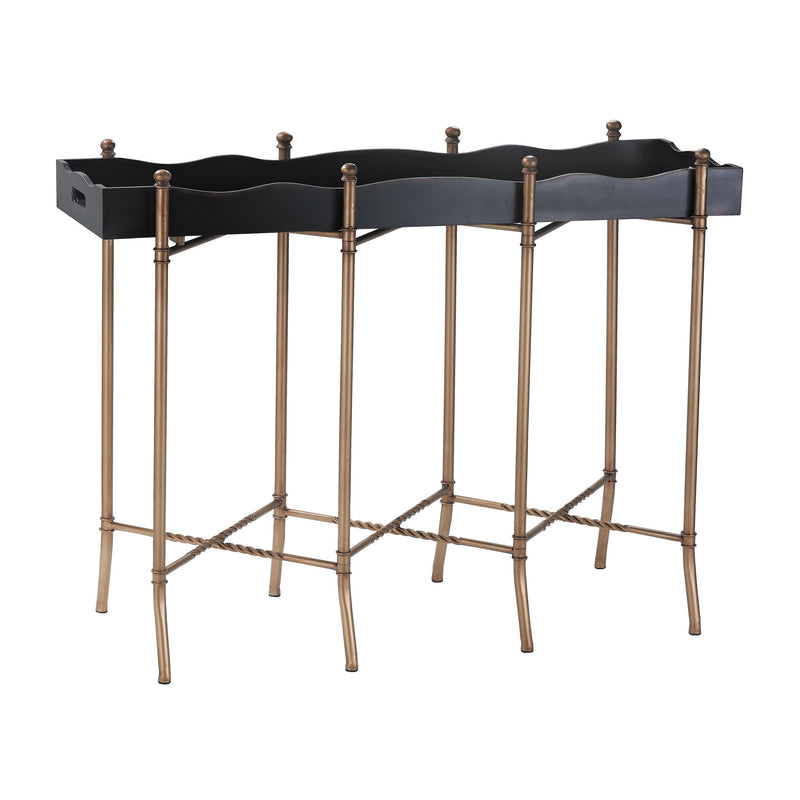 51-016 Black & Gold Tray Style Console Console - RauFurniture.com