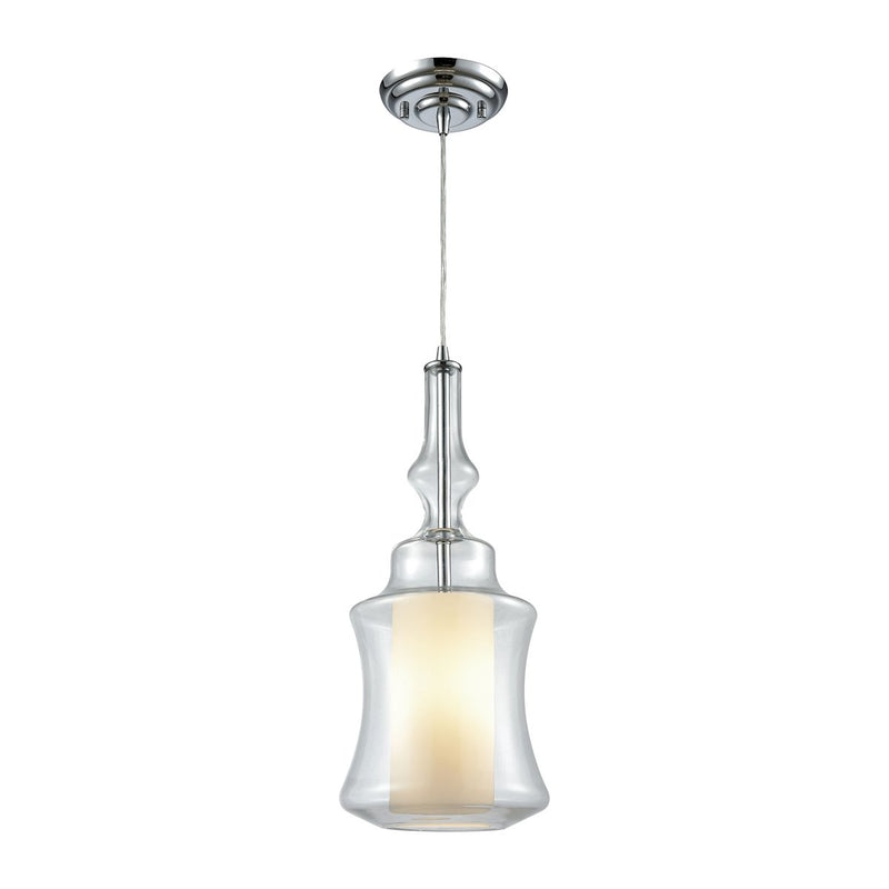 56501/1-LA Alora 1 Light Pendant In Polished Chrome With Opal White And Clear Glass - Includes Recessed Lighting Kit - Free Shipping! Pendant - RauFurniture.com