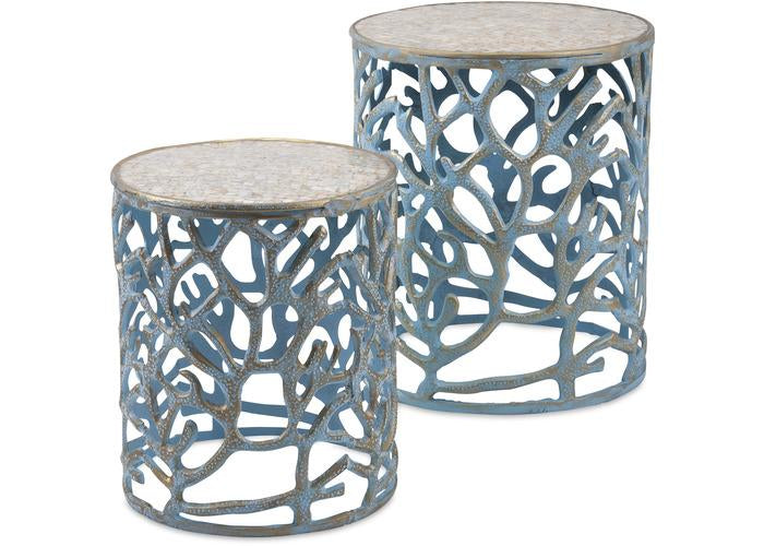 Coral Mother of Pearl Tables - Set of 2 - Free Shipping!, Consoles/Hall Tables/Dining Tables, IMAX, - ReeceFurniture.com - Free Local Pick Ups: Frankenmuth, MI, Indianapolis, IN, Chicago Ridge, IL, and Detroit, MI