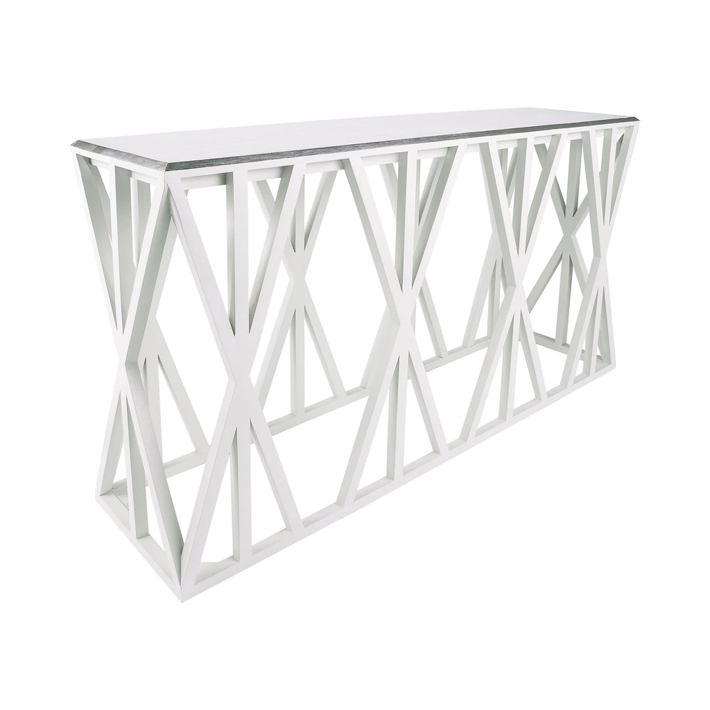 7011-201 Weft Tressle Console In Grain De Bois Cappucino Foam And Silver Leaf Console - RauFurniture.com