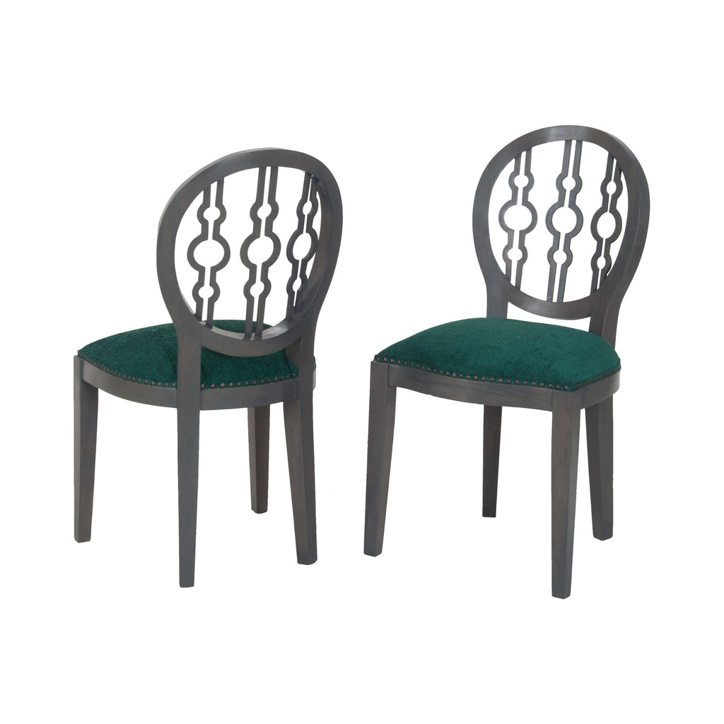 7011-630 Dimple Chair In Antique Smoke And Green Fabric Chair - RauFurniture.com