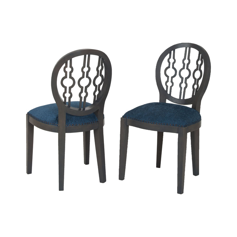 7011-631 Dimple Chair In Antique Smoke And Navy Fabric Chair - RauFurniture.com